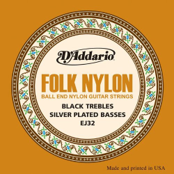 Black Nylon Folk Guitar Strings W/Silver Ball